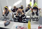 ランナーオリジナルの ハチマキを皆で装着!頭を適度に締め付けることで、集中力がアップするんです。